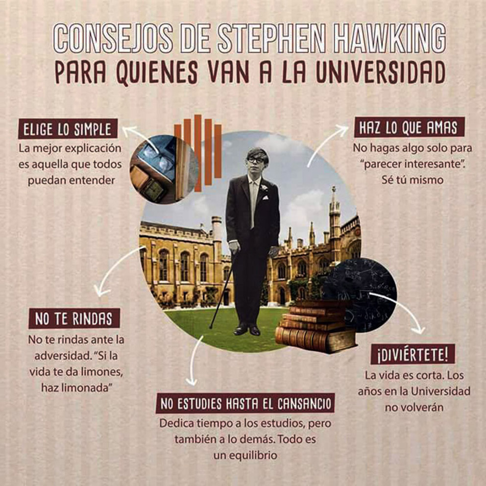 Consejos de Stephen Hawking para quienes van a la universidad
