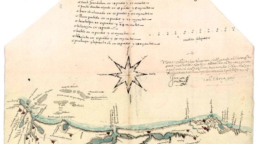 Así era uno de los primeros mapas náuticos locales de Hispanoamérica