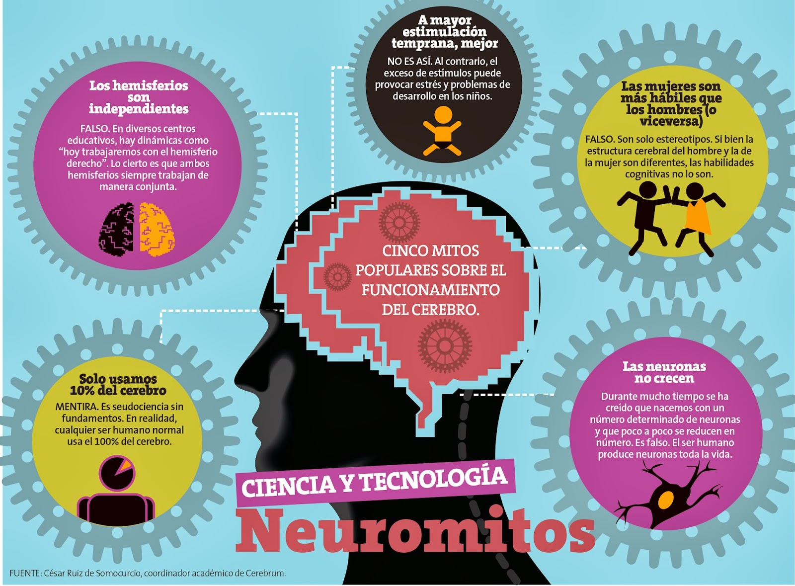 5 mitos populares sobre el funcionamiento del cerebro