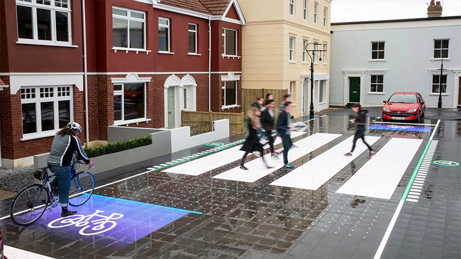 Pasos peatonales con leds en el asfalto