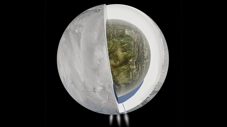 Encélado: un océano debajo de una capa de hielo con un espesor de 25 kilómetros