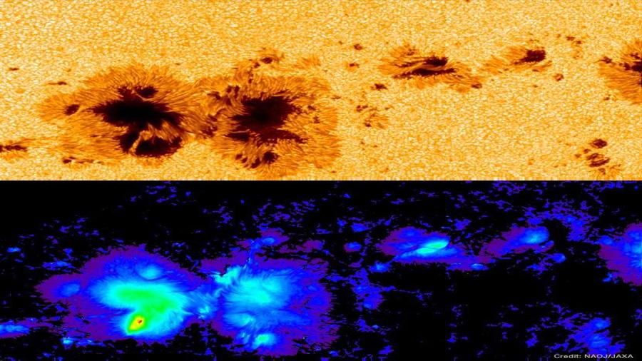 Un campo magnético sin precedentes aparece en una mancha solar