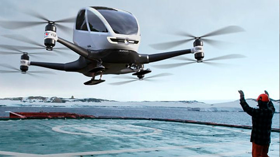 Completan con éxito el primer vuelo de este taxi dron con pasajeros