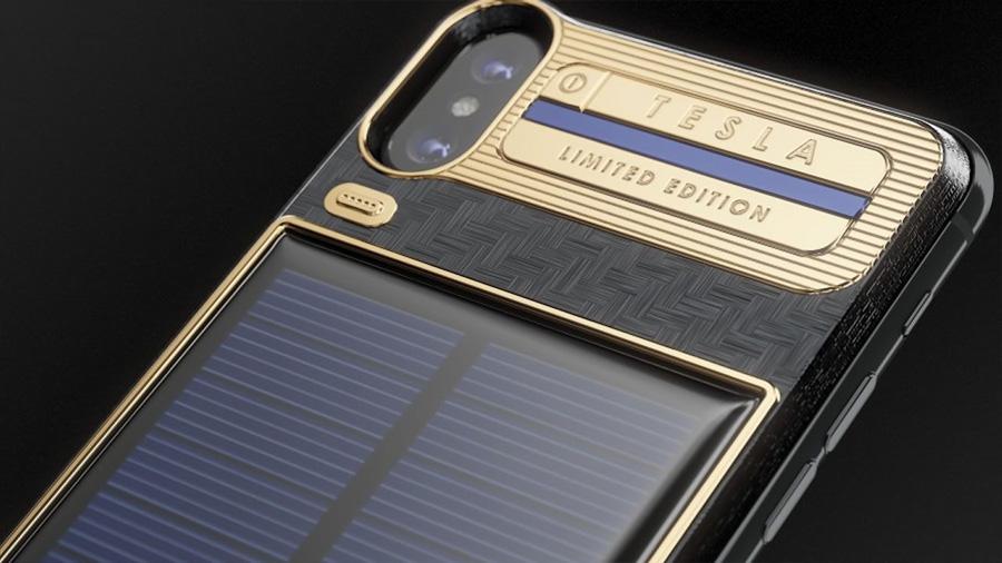 """Este es el Iphone X """"Tesla"""" y posee un panel solar autocargable"""