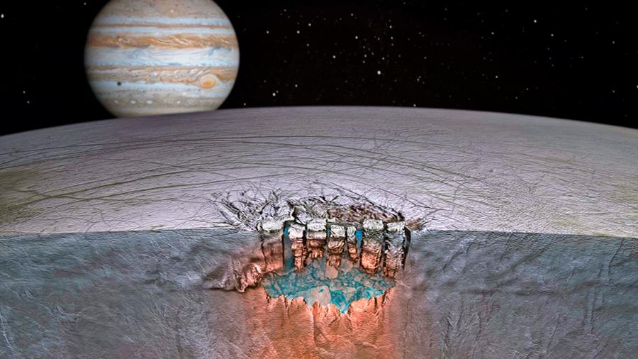 La luna Europa de Júpiter encierra un océano capaz de emerger