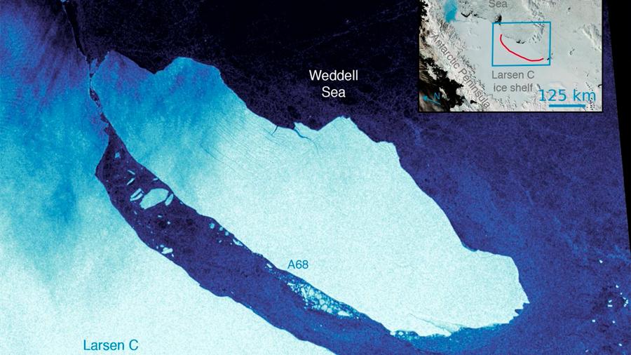 El inmenso iceberg A68 cumple un año atascado en el Mar de Weddell