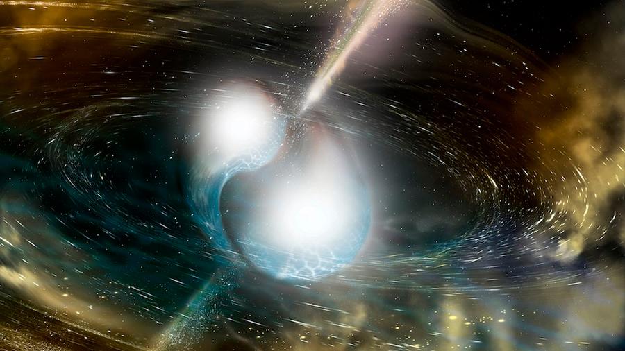 Chorros de materia a casi velocidad de la luz en una fusión de estrellas de neutrones