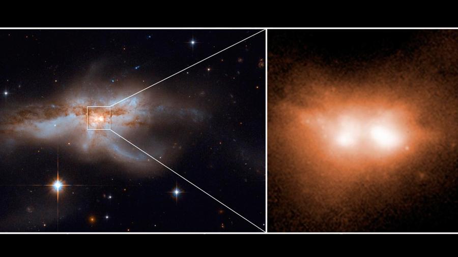 Observan fusiones de galaxias junto con sus agujeros negros centrales