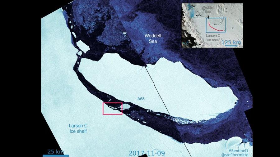 El arriesgado viaje del famoso iceberg rectangular