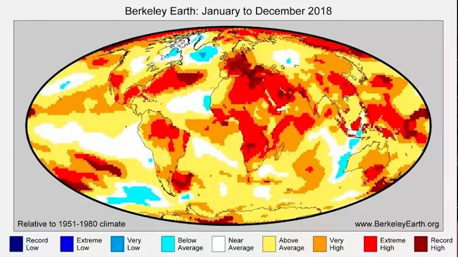 La Tierra se enfrió algo en 2018 pero no merma el calentamiento global