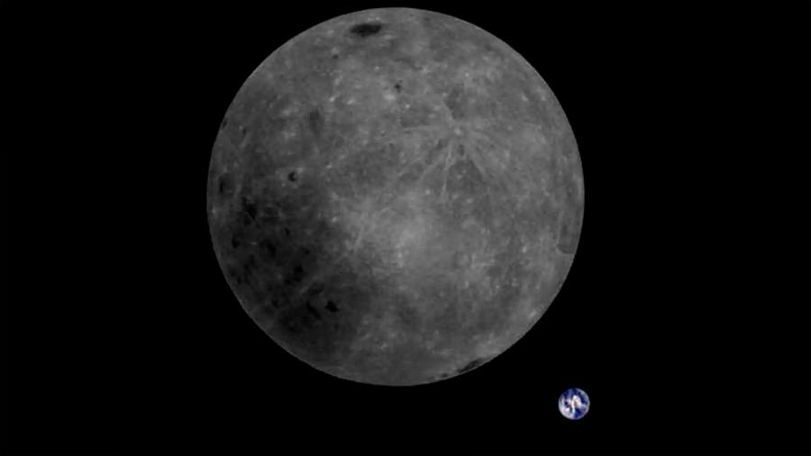 La cara oculta de la Luna y la Tierra, vistas desde un satélite chino