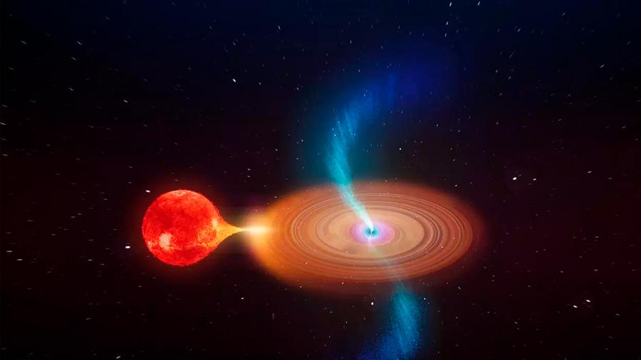 Descubren un agujero negro giratorio que proyecta nubes de plasma a la velocidad de la luz