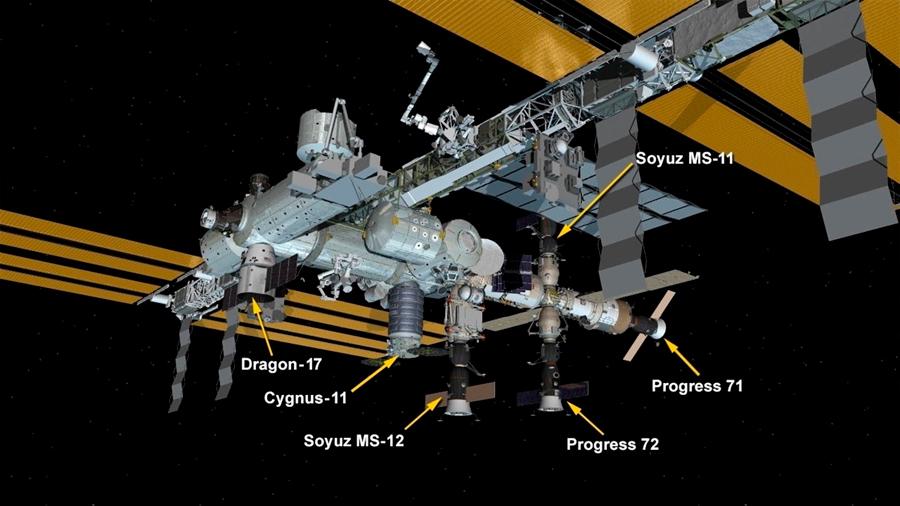 Un carguero Dragon eleva a 6 las naves atracadas a la Estación Espacial