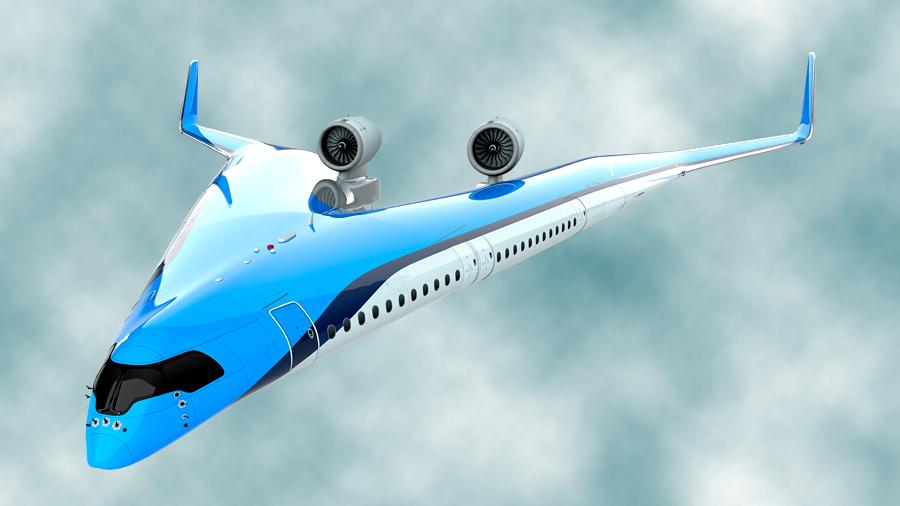 KLM quiere construir un avión en forma de V que llevará a los pasajeros en las alas