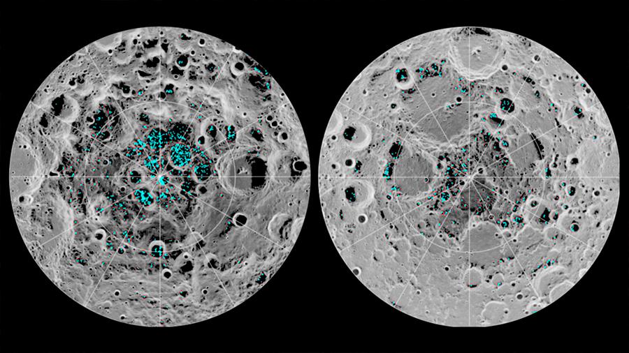 Hay mucho más hielo en la superficie de la Luna de lo pensado