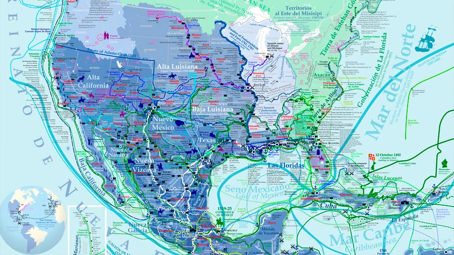 La exploración y conquista española de América del Norte, explicada en un detalladísimo mapa