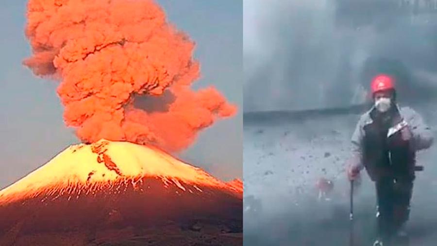 México: alpinistas ascienden al cráter del volcán Popocatépetl en medio de una fumarola