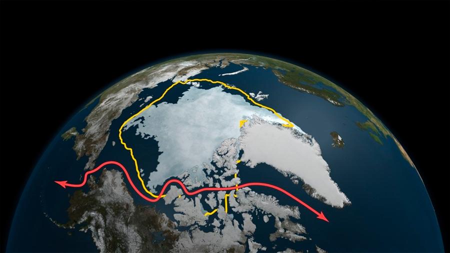 Registran segundo mínimo histórico en la extensión de hielo en el Océano Ártico