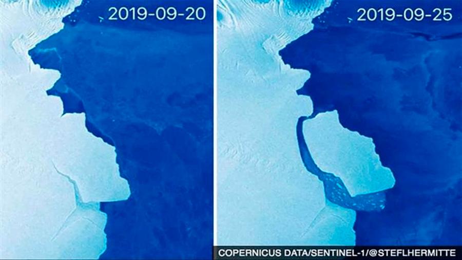 Un gran iceberg de 1,600 kilómetros cuadrados se desprende en la Antártida Oriental