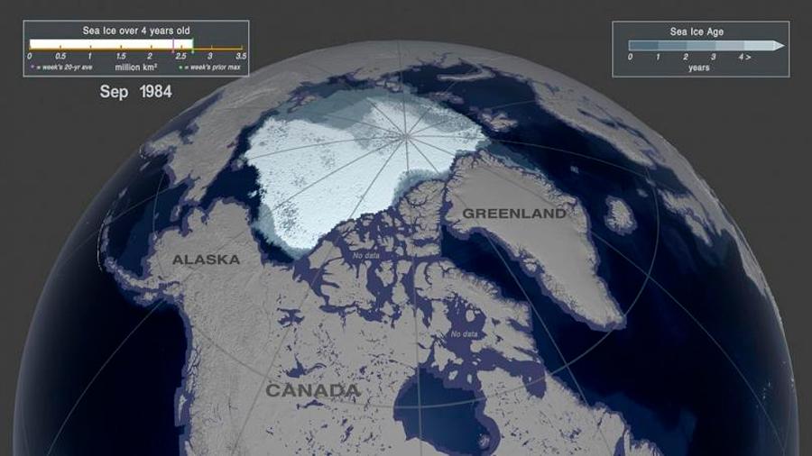 Treinta y cinco años de deshielo del Ártico, en dos minutos