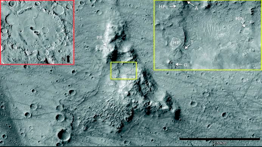 Hallan evidencia de un antiguo manantial de agua termal en Marte