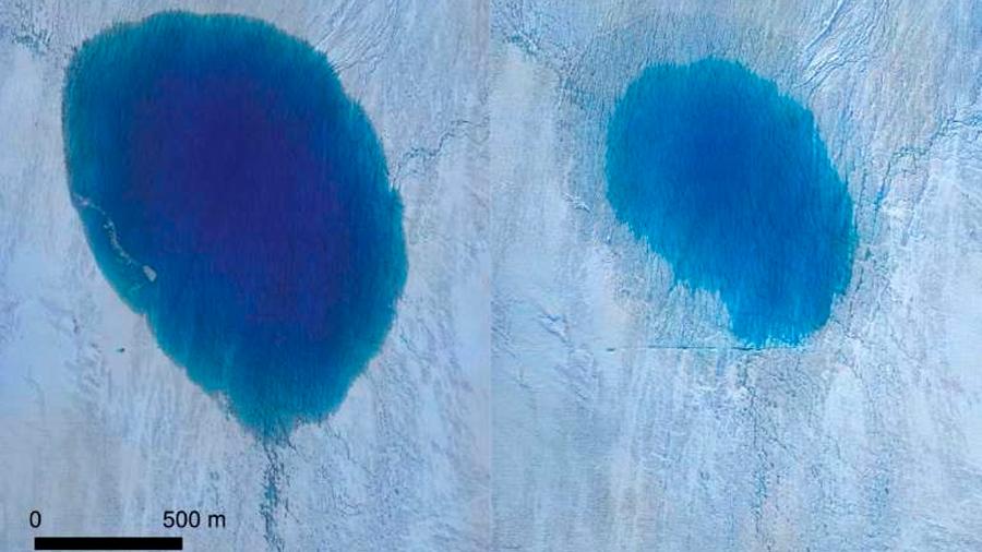 Científicos observan cómo un lago se vacía en unas horas en Groenlandia