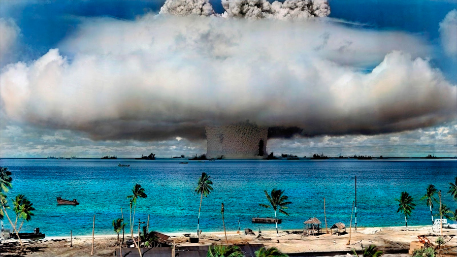 La huella de la primera bomba nuclear explosionada en el mar aún es visible en Bikini tras 73 años