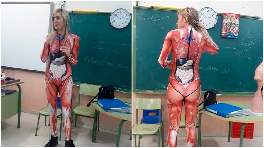 Una profesora española enseña a sus alumnos la materia de anatomía con este disfraz
