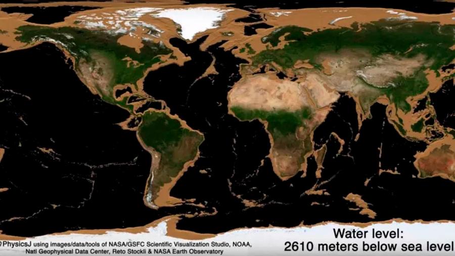 Esta animación muestra lo que verías si toda la superficie del agua en la Tierra desapareciera