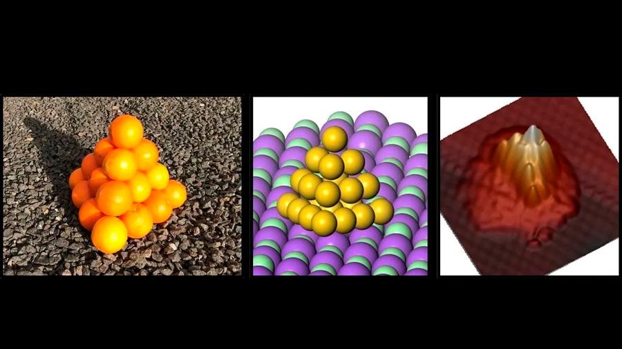 Los átomos de oro se organizan en forma de pirámide