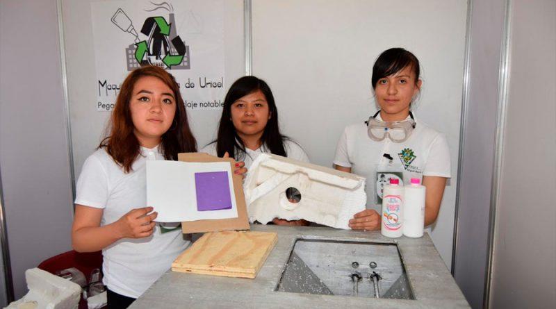 Crean alumnas mexicanas maquina que recicla el unicel en pegamento