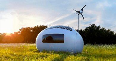 Esta ecocápsula sirve para montar la oficina en el jardín, se autoabastece de agua y luz