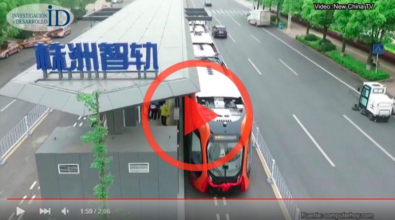 El curioso tren que circula sobre vías virtuales abre su primera línea comercial en China