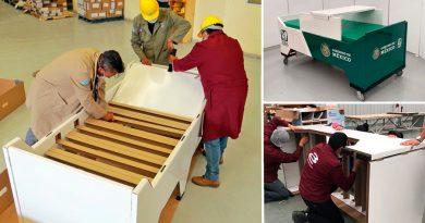 Crean mexicanos camas de cartón para pacientes con Covid-19