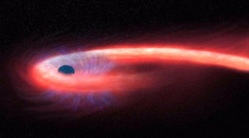 Observan silueta de estrella siendo espaguetizada por un agujero negro