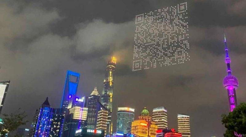 Drones crean imágenes y un código QR para descargar un videojuego