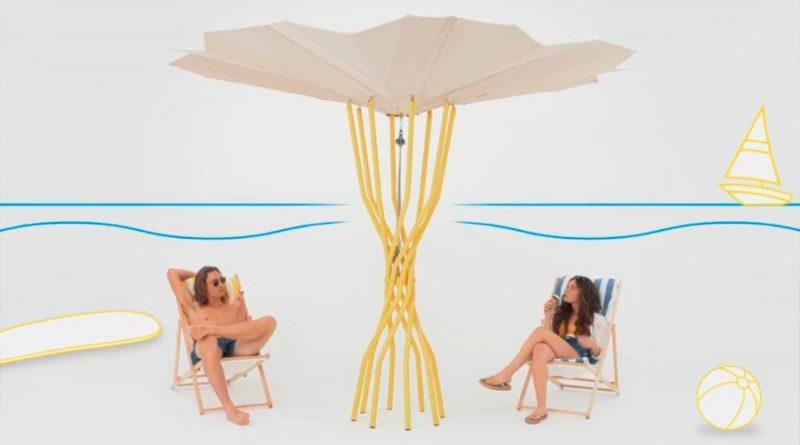 La sombrilla solar que enfría el aire y las bebidas, y carga el móvil